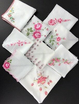 Vintage Floral Hankies Handkerchiefs Embroidered Lot Of 10 🌸💐🌹
