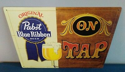 "(L@@K) Pabst Blue Ribbon Beer ""On Tap"" Tin Sign Game Room Man Cave"