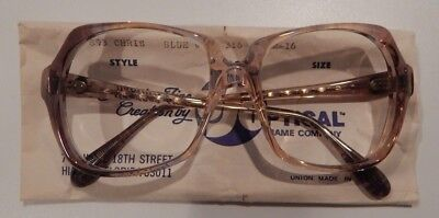 Vintage US Optical Chris Blue Wine 52/16 Ladies Plastic Eyeglass Frame NOS  #243