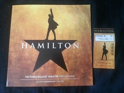 Hamilton - The Musical = Official London Programme and Ticket - LAST ONE
