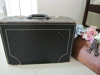 Vintage Black leather box style briefcase/bag/Dr's bag