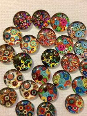 BB FLATBACKS glass dome 12mm cabochon pk of 20 MOSAIC MIX 10 pairs flatback
