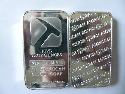 1 - 5 oz. 999 Fine Silver Bar - Pan American Silver Corp- North West Territorial