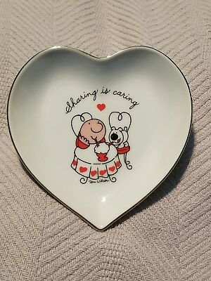 """Vintage ZIGGY Heart-Shaped Plate Trinket Dish  """"Sharing is Caring"""" 1980 Love"""