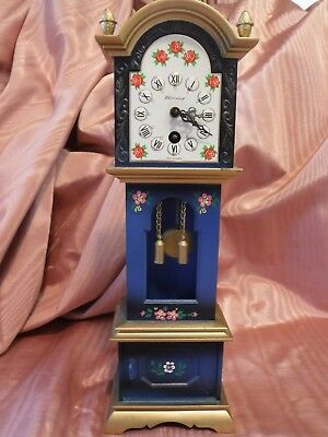 "Vintage West Germany Blessing Mini Grandfather Clock 10"" Dolls Dollhouse no key"