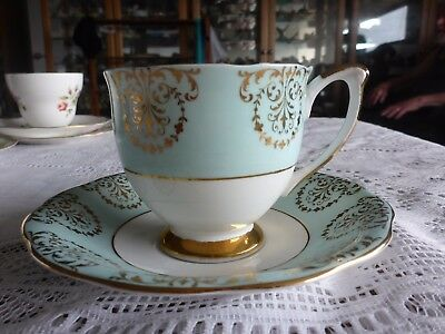 Queen Anne England Fine Bone China Cup Saucer Duo Green  Gilded A/f