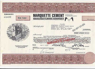 Marquette Cement Manufacturing Company-100 shares von 1976