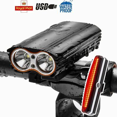 Bright Dual T6 LED Bicycle USB Rechargeable Front Light & 6 Modes Rear Lamp Set