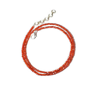 """Red Zircon Gemstone 3-4 mm Rondelle Faceted Beads 16"""" beaded choker necklace"""