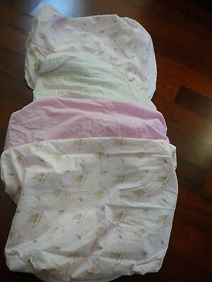 Lot x 4 Baby Girl Fitted Crib Sheets 2 Classic Pooh Dandelion Wish, Pink & Plaid