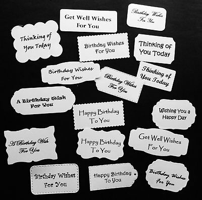 Labels Tags Mostly Birthday & Other Sentiments Die Cuts X 17 Mixed Shapes & Font