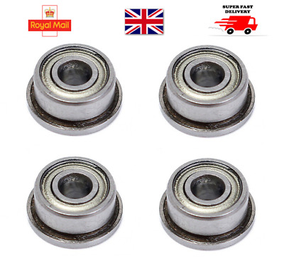 4 pieces F693ZZ Miniature 3mmx8mmx4mm Double Shielded Flanged Ball Bearings