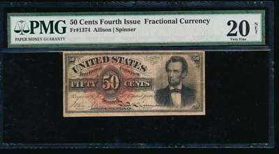 AC Fr 1374 $0.50 1869 fractional fourth issue PMG 20 NET LINCOLN