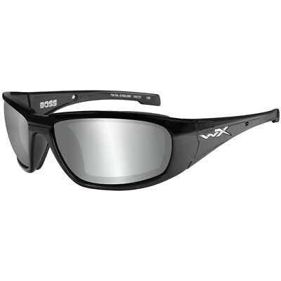 Wiley X WX Boss Glasses Smoke Grey Silver Flash Lens Gloss Gasket Black Frame