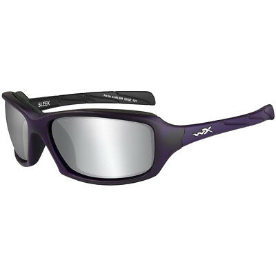Wiley X WX Sleek Glasses Nylon Smoke Grey Silver Flash Lens Matte Violet Frame
