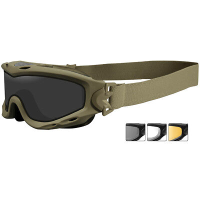 Wiley X Spear Googles Dual Smoke Grey Clear Light Rust Lenses Matte Tan Frame