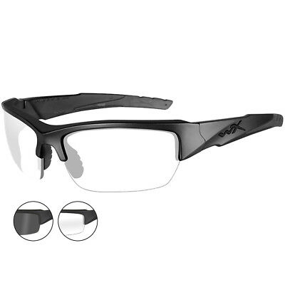 Wiley X WX Valor Glasses Hard Coating Smoke Grey Clear Lenses Matte Black Frame