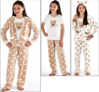 Girls 3 Piece Set Pyjamas Hooded Top With Ears Polyester Fleece Cotton Jersey