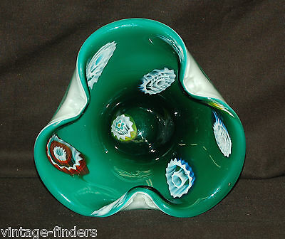 Vintage Art Studio Hand Blown Handcrafted Green Glass Candy / Nut Dish Decor