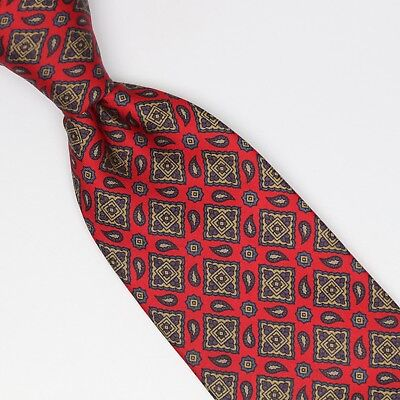 Brooks Brothers Silk Necktie Red Beige Blue Geometric Paisley Print Made in USA