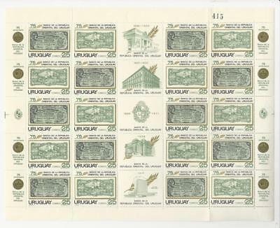 Uruguay, Postage Stamp, #808a Sheet Mint NH, 1971 Bank