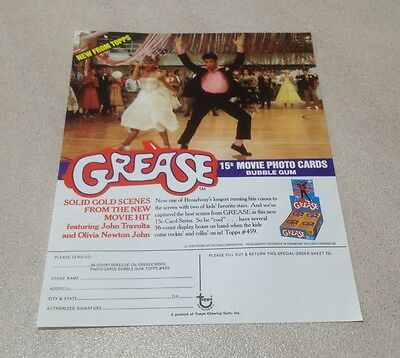 """1978 Topps """"Grease - Series 1"""" Trading Cards - Dealer Sell Sheet"""