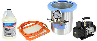 Glass Vac 1 Gallon Tall SS Chamber, Resin, and VE225 4CFM 2 Stage Pump Kit