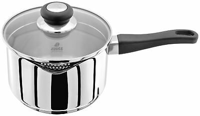 Judge Vista Saucepan Stainless Steel Induction Glass Draining Lid 14/16/18/20cm