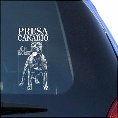 Presa Canario Clear Vinyl Decal Sticker for Window, Dogo-Canary Mastiff Dog Sign