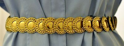"""Vtg. Stretch Coin Belt Sizes 25-36"""" Costume Accessory"""
