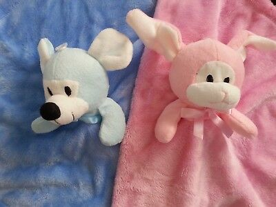Personalised Pink Bunny Rabbit or Blue Mouse Comforter Blankie/ Comfort Blanket