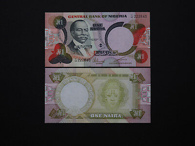 Nigeria Banknotes Brilliant One Naira note   -   Quality 1984 Issue    MINT UNC