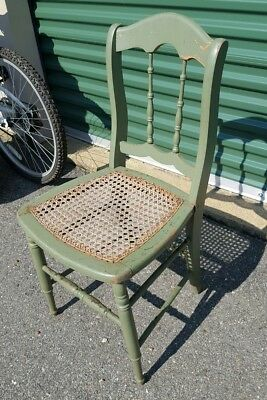 Vintage wood chair cane seat avocado green turned back rails