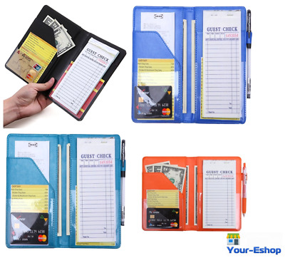Waiter Book Server Pad Holder Paper Money Wallet Card Pads Organizer Apron Case