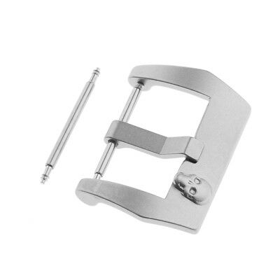 Silvery Matte Screw Pin Buckle For Watch Band Rubber Leather Strap 22mm-24mm