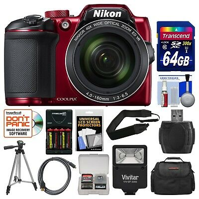 Nikon Coolpix B500 Wi-Fi Digital Camera (Red) with 64GB Card+Case+Flash+EXTRAS!