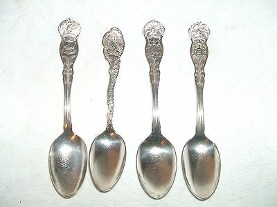 4 Vintage Sp State Souvenir Spoons Illinois Maryland New Jersey New Hampshire