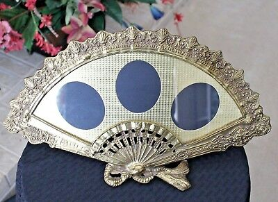 Antique Victorian Fan  Brass Bronze Picture Frame