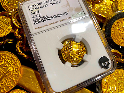 Colombia 1660 Dated 2 Escudos Ngc 55 Gold Doubloon Cob Treasure Shipwreck Coin