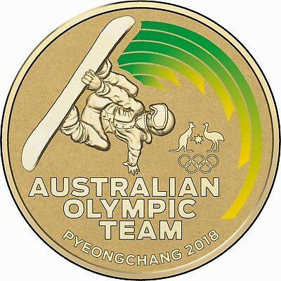 2018 $1 Coloured Frosted Pyeonchang  Australian Winter Olympic Coin UNC