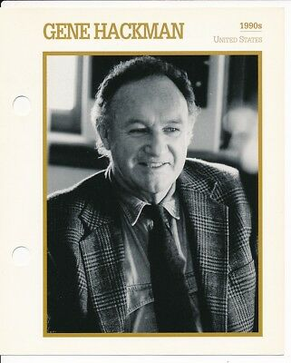 "GENE HACKMAN MOVIE STAR ENCYCLOPEDIA 5 3/4"" X 7"" CARD-1990's"