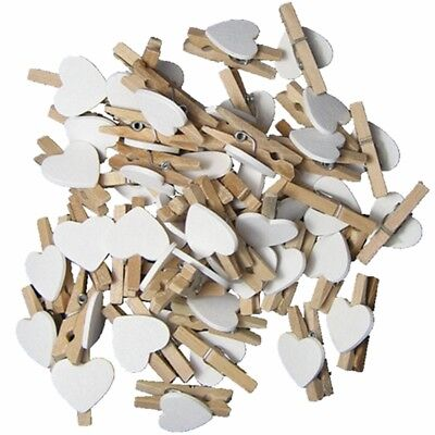 DIY Cute 30pcs Wooden Clips White Heart Mini Pegs Clothespin Wedding Decor Craft