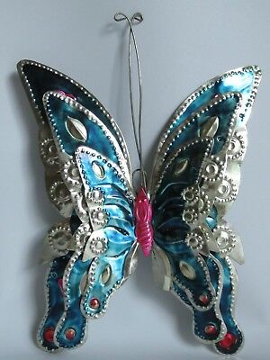 Bohemian Folk Art Punched Tin Mexico Mexican Butterfly Blue & Pink / Three Layer