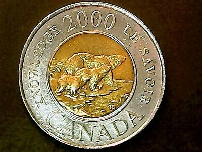 2000 Canada Knowledge  2 Dollar Coin In  B.u. Unc Bear & Cubs  Great Coin