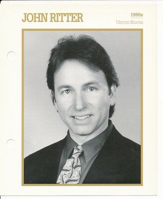 "JOHN RITTER MOVIE STAR ENCYCLOPEDIA 5 3/4"" X 7"" CARD-1990's"