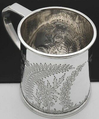 Ornate Antique Christening Cup Mug - Silver Plated - Sheffield - Victorian
