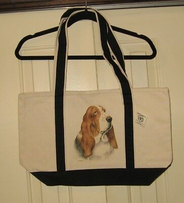 Basset Hound Large Heavy Canvas Tote Bag - New With Tags- Hand Painted-Cute Gift