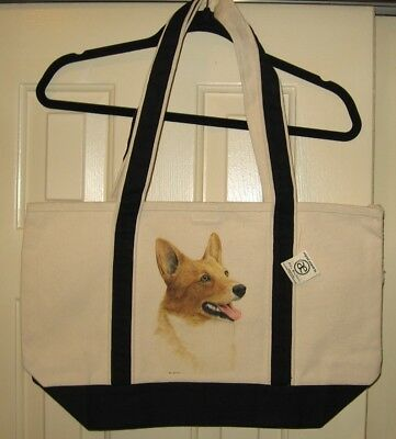 Pembroke Welsh Corgi Large Heavy Canvas Tote Bag-New With Tags- Hand Painted