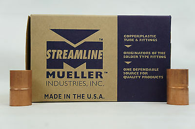 Case of 50 Mueller Streamline 3/4 In. Copper Pressure C x C Coupling Rolled Stop