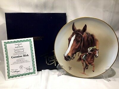 GENUINE RISK  COLLECTORS PLATE Famous Fillies Series FRED STONE ARTIST